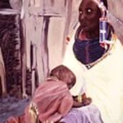 Maasai Woman And Child Poster
