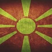 Macedonia Distressed Flag Dehner Poster