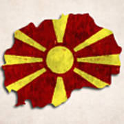 Macedonia Map Art With Flag Design Poster