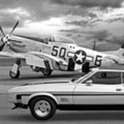 Mach 1 Mustang With P51 In Black And White Poster