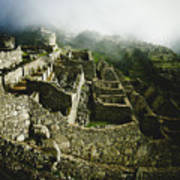 Machu Picchu In The Fog Poster