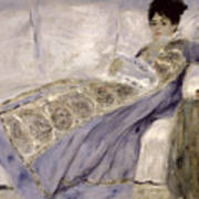 Madame Monet On A Sofa Poster by Pierre Auguste Renoir