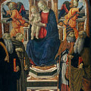 Madonna And Child Enthroned With Saints And Angels Poster