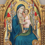 Madonna And Child Enthroned With Twelve Angels Poster