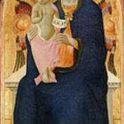 Madonna And Child Enthroned With Two Cherubim                                Poster