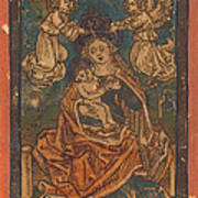 Madonna And Child Seated On A Grassy Bank With Angels Poster