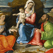 Madonna And Child With A Goldfinch With Saints Catherine And Paul Before An Extensive Landscape Poster
