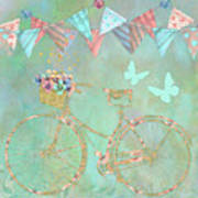 Magical Bicycle Tour Enchanted Happy Art Poster