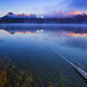 Magical Sunrise Along Sawtooth Mountain Range Stanley Idaho Poster