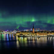Magnificent Aurora Dancing Over Stockholm Poster