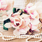 Magnolia Flowers With Pearls Poster