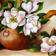 Magnolias In A Clay Pot Poster