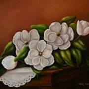 Magnolias On A Table Poster