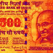 Mahatma Gandhi 500 Rupees Banknote Poster