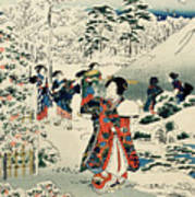 Maids In A Snow Covered Garden Poster by Hiroshige
