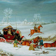 Mail Coach In The Snow Poster by John Pollard