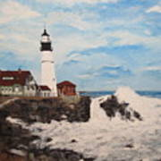 Maine Lighthouse Poster by Marcia Crispino