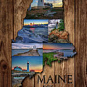 Maine Lighthouses Collage Poster