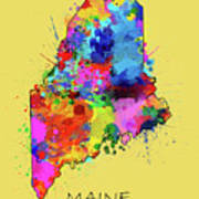 Maine Map Color Splatter 4 Poster