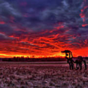 Majestic Red Clouds Winter Sunset The Iron Horse Art Poster