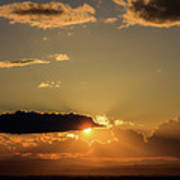 Majestic Vivid Sunset/sunrise With Dark Heavy Clouds And Sunrays Poster