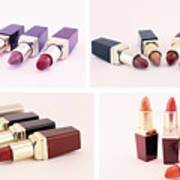 Makeup Set Of Lipsticks Isolated Poster