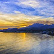 Makrygialos Sunset Digital Painting Poster