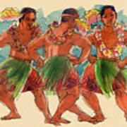 Male Dancers Of Lifuka, Tonga Poster