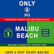Malibu Beach California Surf Poster