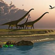 Mamenchisaurus Dinosaur Morning Poster