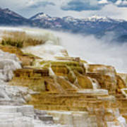 Mammoth Hot Springs In Yellowstone National Park, Wyoming. Poster
