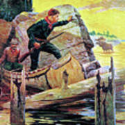 Man And Guide In Canoe Poster by R Farrington Elwell