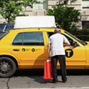 Man Asks For Information A Taxi Driver In Manhattan. Poster