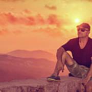 Man Enjoying Sunset Poster