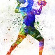 Man Exercising Weight Training Poster