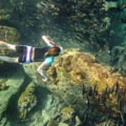 Man Free Diving Poster