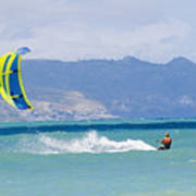 Man Kiteboarding In Turquoise Water Poster by Mark Cosslett