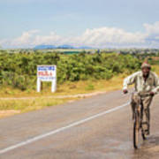Man On Bicycle In Zambia Poster