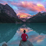Man Sit On Rock Watching Lake Louise Morning Clouds With Reflect Poster