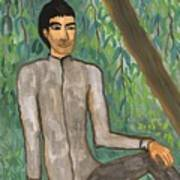 Man Sitting Under Willow Tree Poster