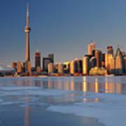 Man Standing On Frozen Lake Ontario Ice Looking At Toronto City  Poster