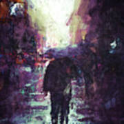 Man Walking Under Umbrella Poster