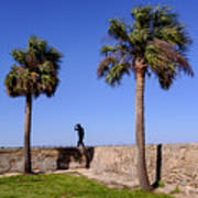 Man With A Hat On The Wall With Palm Trees In Saint Augustine Fl Poster