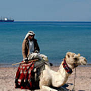 Man With Camel At Red Sea Poster