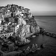Manarola Dusk Cinque Terre Italy Bw Poster