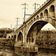 Manayunk Bridge Across The Schuylkill River In Sepia Poster