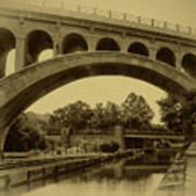 Manayunk Canal In Sepia Poster by Bill Cannon