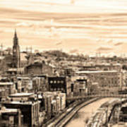 Manayunk In March - Canal View In Sepia Poster