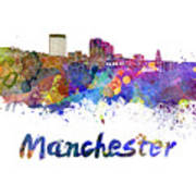 Manchester Nh Skyline In Watercolor Poster