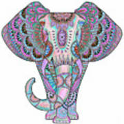 Mandala Elephant Indigo Poster